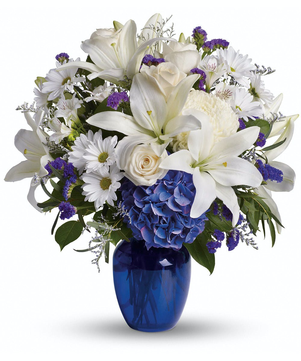 Beautiful In Blue White Flowers Blue Vase By Nortons Florist
