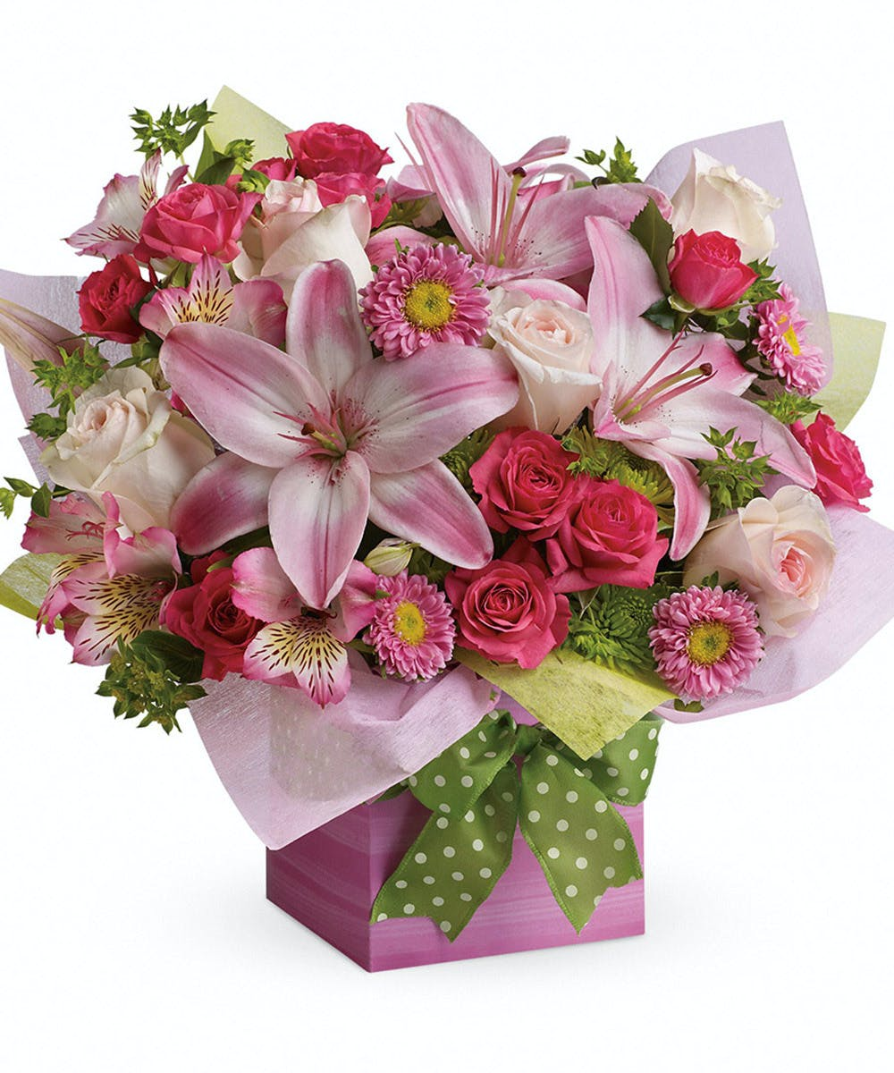 Pretty Pink Present Floral Birthday Gift By Nortons Florist