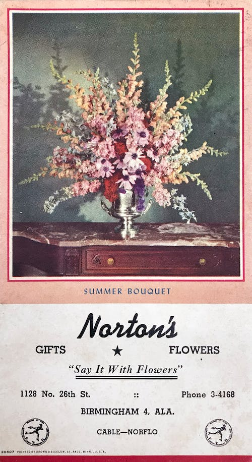 A full-color promotional slick promoting summer bouquets, distributed some time in the 1950s